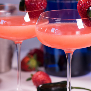 Fresh Strawberry Martini - with homemade strawberry syrup
