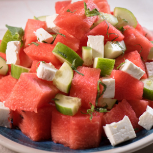 Watermelon Salad with Cucumbers and Feta