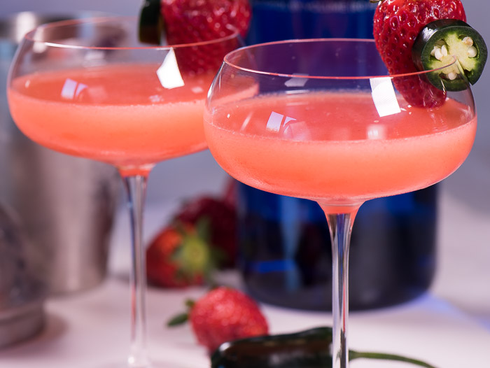 Fresh Strawberry Martini With Homemade Strawberry Syrup